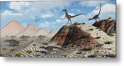 A Pack Of Velociraptors Stalking A Herd Metal Print