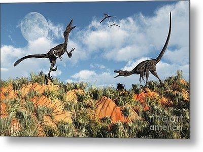 A Pair Of Velociraptors Involved Metal Print