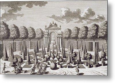 A Parterre With Orange Trees In The Garden Of The Lichtenstein Palace Metal Print by Salomon Kleiner
