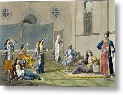 A Persian Harem, From Le Costume Ancien Metal Print by G. Bramati