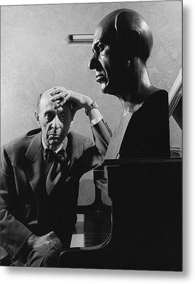 A Portrait Of Arnold Schoenberg Leaning Metal Print