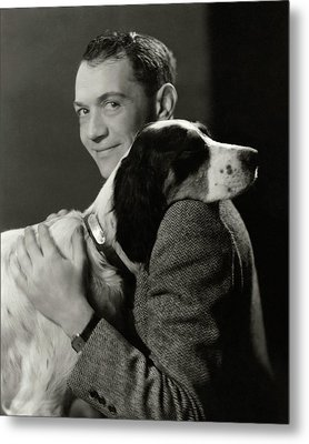 A Portrait Of John Held Jr. Hugging A Dog Metal Print