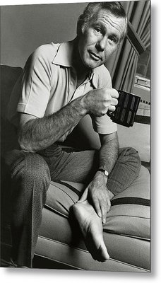 A Portrait Of Johnny Carson Sitting Metal Print by Bruce Bacon