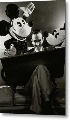 A Portrait Of Walt Disney With Mickey And Minnie Metal Print by Edward Steichen