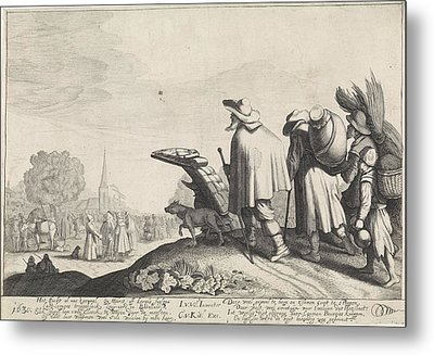 A Procession Of Tramps On The Way To The Market Or Fair Metal Print by Jan Van De Velde (ii)