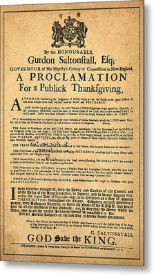 A Proclamation Of Thanksgiving Metal Print by Bill Cannon