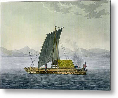 A Raft Leaving The Port Of Guayaquil Metal Print by Friedrich Alexander, Baron von Humboldt