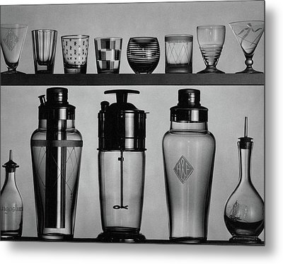 A Row Of Glasses On A Shelf Metal Print by The 3