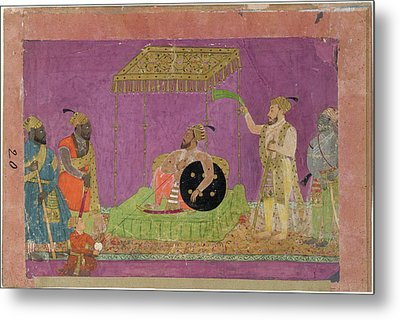 A Ruler With Courtiers Metal Print by British Library