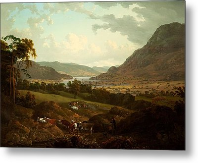 A Scene In The Lake District Metal Print by Julius Caesar Ibbetson