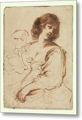 A Seated Young Woman Looking Metal Print by Guercino
