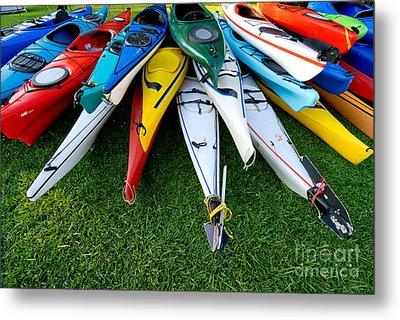A Stack Of Kayaks Metal Print