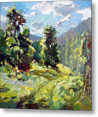 Metal Print featuring the painting A Study In The Mountains by Dmitry Spiros