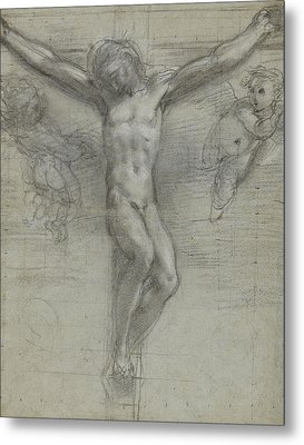 A Study Of Christ On The Cross With Two Metal Print by Federico Fiori Barocci or Baroccio