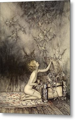 A Sudden Swarm Of Winged Creatures Metal Print by Arthur Rackham