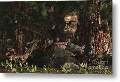 A T-rex Returns To His Kill And Finds Metal Print by Arthur Dorety