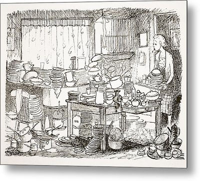 A Tendency To Leave The Washing-up Till Metal Print by Pont