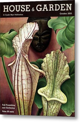 A Tropical Flower And An African Mask Metal Print
