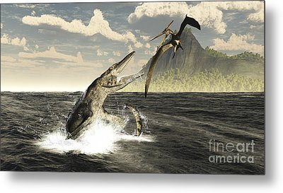 A Tylosaurus Jumps Out Of The Water Metal Print by Arthur Dorety