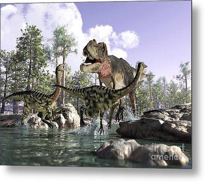 A Tyrannosaurus Rex Hunting Two Metal Print by Leonello Calvetti