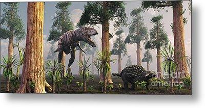 A Tyrannosaurus Rex Tracking Metal Print by Mark Stevenson