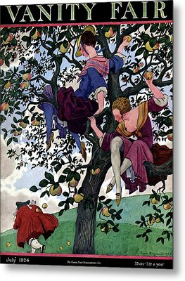 A Vanity Fair Cover Of Women Throwing Apples Metal Print by Pierre Brissaud