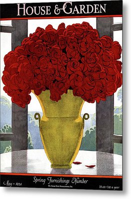 A Vase With Red Roses Metal Print