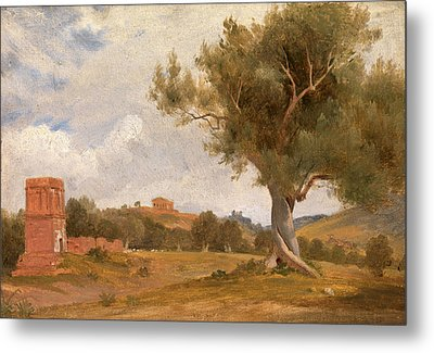 A View At Girgenti In Sicily With The Temple Of Concord Metal Print