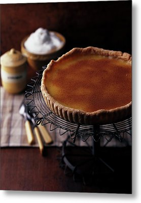 A Vinegar Pie On A Wire Stand Metal Print