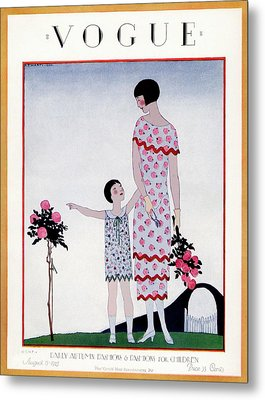 A Vintage Vogue Magazine Cover Of A Child Metal Print by Andre E.  Marty