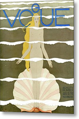 A Vintage Vogue Magazine Cover Of A Naked Woman Metal Print by Georges Lepape