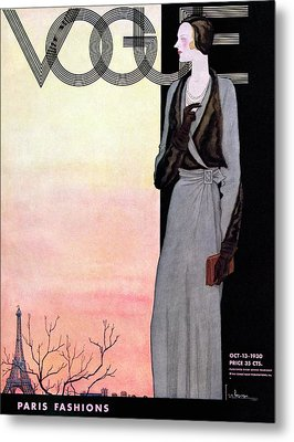A Vintage Vogue Magazine Cover Of A Wealthy Woman Metal Print by Georges Lepape