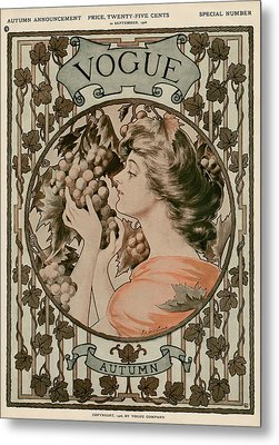 A Vintage Vogue Magazine Cover Of A Woman Metal Print by Hugh Stuart Campbell
