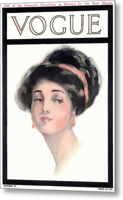 A Vintage Vogue Magazine Cover Of A Young Woman Metal Print by Helen Dryden