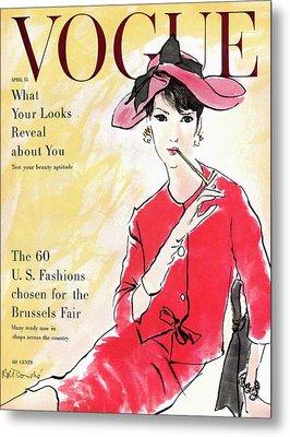 A Vogue Cover Illustration Of Isabella Albonico Metal Print by Rene R. Bouche