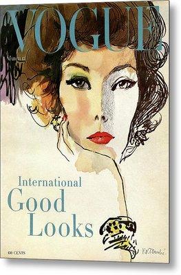 A Vogue Cover Illustration Of Nina De Voe Metal Print by Rene R. Bouche