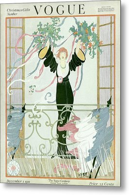 A Vogue Cover Of A Woman Above A Parade Metal Print by Helen Dryden