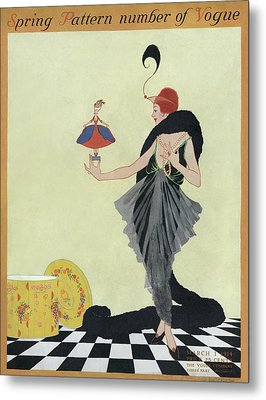 A Vogue Cover Of A Woman Holding A Doll Metal Print by Helen Dryden