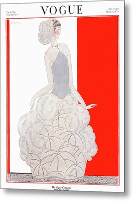 A Vogue Cover Of A Woman Wearing An Evening Gown Metal Print by Georges Lepape