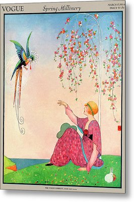 A Vogue Cover Of A Woman With A Bird Metal Print by George Wolfe Plank