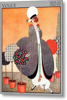 A Vogue Cover Of A Woman With Fabric Swatch Pot Metal Print by George Wolfe Plank