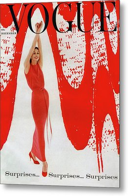 A Vogue Cover Of Anne St. Marie And Red Paint Metal Print by William Bell