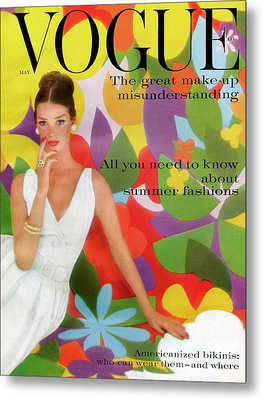 A Vogue Cover Of Dolores Hawkins With A Floral Metal Print