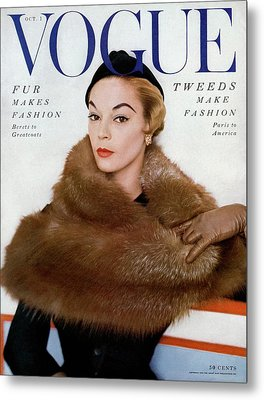 A Vogue Cover Of Jean Patchett Wearing A Fur Wrap Metal Print