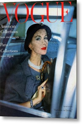 A Vogue Cover Of Joan Friedman In A Car Metal Print by Clifford Coffin