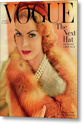A Vogue Cover Of Mary Mclaughlin Wearing A Fox Metal Print by Horst P. Horst