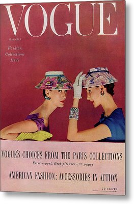 A Vogue Cover Of Models Wearing Lilly Dache Hats Metal Print