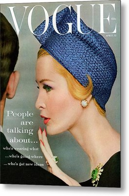 A Vogue Cover Of Sarah Thom Wearing A Blue Hat Metal Print