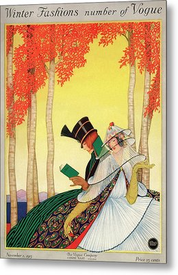 A Vogue Cover Of Women Sitting In A Forest Metal Print by George Wolfe Plank