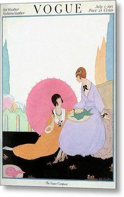 A Vogue Cover Of Women With A Parasol Metal Print by Helen Dryden